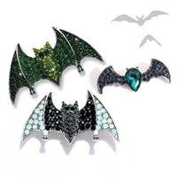 Pins, Brooches Morkopela Halloween Series Bat Crystal Brooch Vintage Big Jewelry Rhinestone Broach Scarf Suit Clip Pins