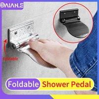 Bathroom Shelves Shower Pedal Aluminum Folding Mat Safety Anti-slip Pregnant Women Wash Foot Rest Shoe Shine Holder Shelf Black