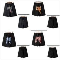 Herren Baumwolle Hohe Qualität Shorts Sports Atmungsaktive High Street Trend Flaming Schädel Lose Strandhosen Mode Hip-Hop Casual Streetwear Schnelltrocknung
