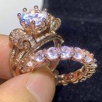Paar Ringe 2 stücke Atemberaubende Deluxe Schmuck 925 Sterling Silberrose Gold Füllung Runde Form Weiß Topas Diamant Frauen Hochzeit Braut Ring Set