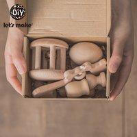 Hagamos 8pcs / set del cumpleaños de Baby's Bebe Beech Standast Traje Toys Baby Teether Muñeca de madera Muñeca de madera Productos para bebés Niños con caja de cajas 210311