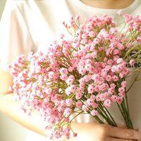 Dekoratif Çiçekler Çelenk 3 adet Renkler Plastik Yapay Bebek Nefes Gypsophila Sahte Çiçek DIY Çiçek Buketleri Düzenleme Düğün için