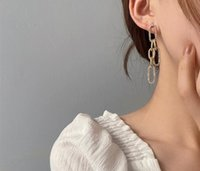 2021 European and American Dangle & Chandelier trendy glittering retro metal long earrings hollow out B letter simple fashion personality 098