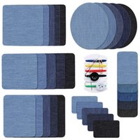30pcs set Premium Quality Sewing Tools Denim Patches Inside Outside Glue Assorted Shades of Blue Iron On Jean Patch Repair Decorating Kit