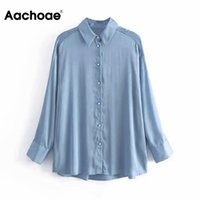 Aachoae Women Long Sleeve Blouse Tops 2021 Solid Turn- down C...