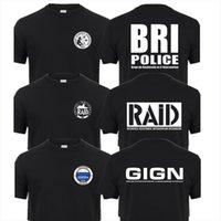 Fransa Fransız Özel Elite Erkek T Shirt Polis Kuvvetleri Birim Gign Raid Bri Gömlek Kısa Kollu Adam QR 041