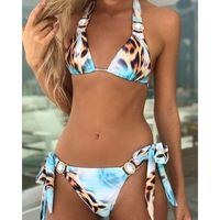 2020 Rhinestone Mayo Kadınlar Bikini Kristal Elmas Bikini Set Halter Bandaj Dantel-up Mayo Kadın Lüks Yüzme Suit