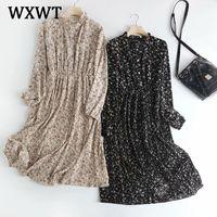 WXWT 2021 Женщины RILLEN Двойной карманные Цветы Длинные Mouwen Весна Темперамент Средняя длина Платье Vestidos XW609