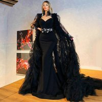 2021 Elegant Black Mermaid Evening Dresses With Long Shawl SexyBackless Satin Formal Party Prom Gowns For Arabic Women Vestidos De Novia