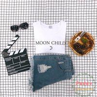 T-shirt Femme Okoufen Moon Child Fashion Hipster Cool Top Tumblr Tees Femmes Summer Graphique Haute Qualité Vêtements Coton Hop Hop shirts