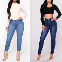 Women's Jeans Autumn Women Casual Mid Waist Push Up Stretch Thin Washable Zipper Skinny Female Pencil Pants 2021 Fashion Street