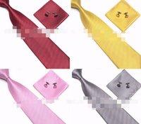 2021 Бесплатная доставка Мужская галстука-манжеты Ссылки платок набор 100% шелковый новый рождественский подарок