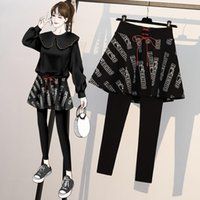 Women's Leggings Fake Two-Piece Skort-Letter Printed Dress Fall Winter Underwear Stretch Trousers Stacked Women High Rise Leadership 4XL