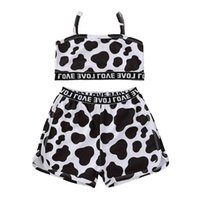 الفتيات يتسابق طفلة ملابس الأطفال مجموعة الأطفال ملابس الصيف قمم خزان السراويل 2 قطع الاطفال ارتداء الدعاوى الحيوان 2-8y B4251