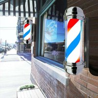 Downlights 55cm LED Barber Shop Sign Pole Light Red White Blue Stripe Design Roating Salon Wall Hanging Lamp Beauty