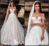 2021 어깨 레이스에서 우아한 레이스 웨딩 드레스 크리스탈 구슬 얇은 얇은 명주 얇은 웨딩 스위트 트레인 국가 정원 결혼식 신부 가운