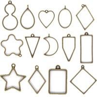 Pendenti aperti Pendenti Charms Stampi in resina per i risultati dei gioielli FAI DA TE PREMUTI FLOWER FRAME Assortiti Geometrici Vassoi cavi