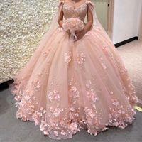 2022 Romantik Allık 3D Çiçekler Balo Quinceanera Balo Elbiseler ile Cape Wrap Kaftan Boncuklu Dantel Uzun Tatlı 16 Elbise Vestidos 15 Anos