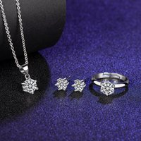 Factory Outlets t Family Classic Six Claw Mosan Iamon Ring Penant Necklace Earring Three Piece Set 925 Silver Flexible Mouth Color Women's Style
