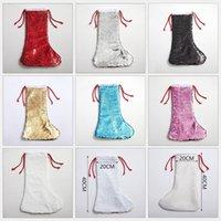 Sublimation Christmas Stockings Sequin Xmas-Socks Gift Bag Decoration Christmas-Tree Pendant Ornament Glittery Socks GWB9044