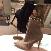 fashion-Womens Pointed Toes Ankle Hlaf Boots High Heel 6-8CM Woolen Sock-like Booties Ladies High Top Fashion Knit Boots Heel Black Brown