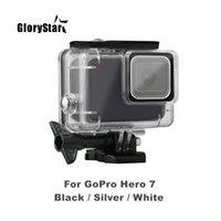 Glorystar 45m تحت الماء حالة للماء ل gopro بطل 7 أسود فضي كاميرا بيضاء حماية الإسكان حالة الاكسسوارات الغوص