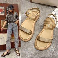 Sandals Casual Flip Flop Women Shoes Cow Suede Leather Ladies Summer Flat Beach 2021 Gladiator Shoe Fashion Footwear