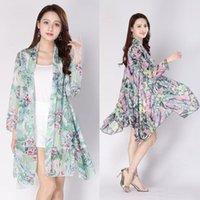 Mulheres Casacos Vintage Floral Camisas Soltas xale Kimono Blusa Cardigan Boho Beach Senhoras Tops Midi-Long Sunscreen Chiffon Jacket Women Y93