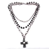 Pendant Necklaces Fashion Bohemian Tribal Jewelry 3 Layer Multiple Black Glass Crystal Rosary Link & Chain Cross