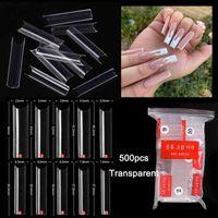 500 Pcs bag Extra-Long False Nail Tips C Curved Clear Acrylic Long Straight Square Fake Nails DIY Salon Manicure Supply