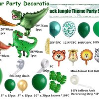 105pcs Dinosaur Balloons Garland Kit for Birthdays Baby Showers Decoration and comes with T Rex, Velociraptor, Brontosaurus L0220