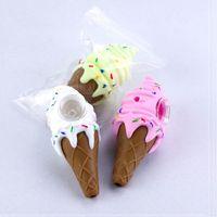 Hight Quality мороженое прохладная труба для курения DAB травяной табачный силиконовый бонг декоративный дизайн конус ручной трубы 3 цвета коробки