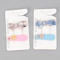Accessori per capelli 2 PZ Coreano Plaid Bow Taitpins BB BB Clip Girls Set di copricapo lato Vendita all'ingrosso