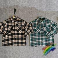 Oversize Plaid Shirts Men Women 1 High Quality FLANNEL Overshirt Double Chest Pocket Blouse