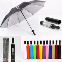2021 Nouvelle création Femmes Bouteille de vin Parapluie 3 pliante Sun-Rain UV Mini Uvapluie Pour Femmes Hommes Cadeaux Cadeaux Pluie Embarquage
