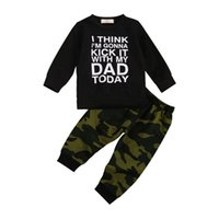 Clothing Sets 2Pcs Fashion Baby Girls Boys Clothes Set Cotton Casual Letter Long Sleeve Pullover Tops+Camo Pants Toddler Infant Outfit
