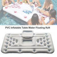 Summer Pool Inflatable Floats 28 Cup Hole Beer Pong Party Barge Table Mat Floating Row Water Fun Raft Pad Game Air Mattress
