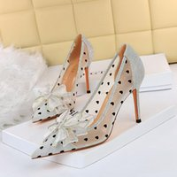 Dress Shoes European And American Sexy Nightclub Stiletto Shallow Mouth Pointed Toe Mesh Hollow Rhinestone Bow Ladies High Heels