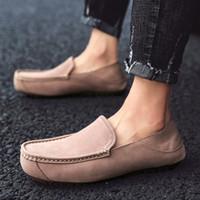 Rahat Erkek Ayakkabı Hakiki Deri Nefes Moccasins Açık Rahat Yumuşak Alt Yürüyüş Ayakkabıları Erkekler Için Erkekler için Örgün Ayakkabı R0TG #