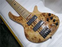 SPEDIZIONE GRATUITA DEOLIV 5 Strings Bass Guitar, Burl Maple Impiallacciatura di frassino in legno, bullone del collo acero sul corpo, pulsante nero, intarsio Taiji