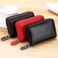 Card Holders Good Quality Zipper Style Genuine Leather Coin Purse Men Women Mini Wallets Male Small Money Bag ID Holder