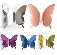 3D наклейки на стену бабочка зеркальные наклейки съемный росписящий стикер для дома гостиная детская девочек спальня украшения LLA6783