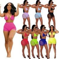 Mujeres de verano Trajes de baño Trajes de lentejuelas Cuello Sujetador Tops Shorts Bikini Sets Girls Beach Sexy Tankini Swimsuit Fiesta Clubwear H25FP5E