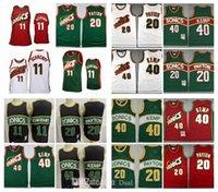 레트로 저지 시애틀 # 132; supersonics # 132; 농구 20 게리 payton 11 detlef schrempf 녹색 빨간색 흰색 정통 40 shawn kemp stitched hardwoods jerseys