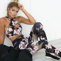 Kadınlar 2 Parça Yoga Set Gym Fitness Giysileri Çiçek Baskı Sutyen + Uzun Pantolon Bayan Koşu Tayt Koşu Kadın Egzersiz Yoga Tayt Spor Suit