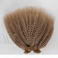 Indien 1g S 100g # 27 Brown Afro Kinky Kineratin Bâton de kératine pré-liée U Tip Cuticle cru Aligné Virgin Remy Extensions de cheveux humains