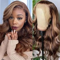 """Lace Wigs 13x6 Blonde Highlight Colored Front Human Hair Pre Plucked For Women 32"""" Body Wave Brazilian 250% Density"""