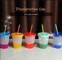 16oz Mezcla Color Cambio de tazas frías Vacador de plástico reutilizable con tapa y taza de paja Copa de paja Taza de bebida Gadgets de cocina FY4494