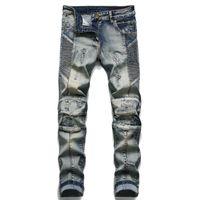 Chao Brand Balman Cucita Hole Elastic Tight Men's Jeans Pantaloni da moto