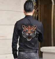 2021 Nova marca Fashions Casual Slim Fit Manga Longa Homens Camisa Streetwear Roupas Diamante Stone Shirts Mens de Alta Qualidade 030h